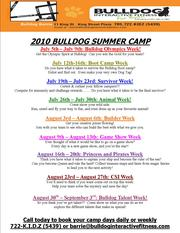 Barrie Bulldog Summer Camps - Daily or Weekly Bookings